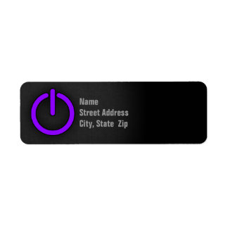 Botón de encendido púrpura violeta etiqueta de remitente