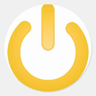 Botón de encendido simple pegatina redonda