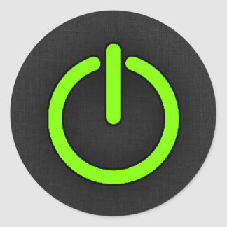 Botón de encendido verde chartreuse, de neón pegatina redonda