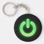 Botón de encendido (verde) llavero personalizado