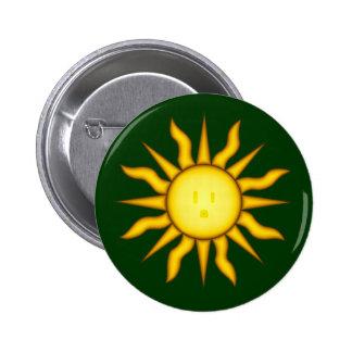 Botón de energía solar del Glyph de Sun Pin Redondo De 2 Pulgadas