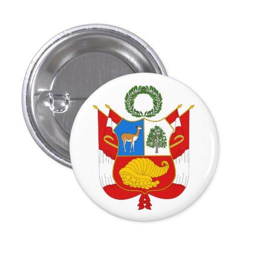 Botón de escudo de armas de Perú Pins