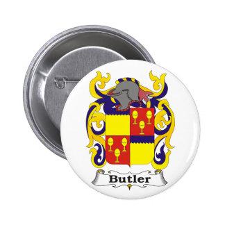 Botón de escudo de armas del mayordomo pin redondo de 2 pulgadas