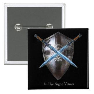 Botón de escudo de armas - en Signo hoc Vinces Pin Cuadrado