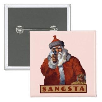 Botón de Gangsta Santa Pin Cuadrado