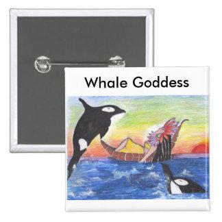 Botón de Goddes de la ballena Pin Cuadrado