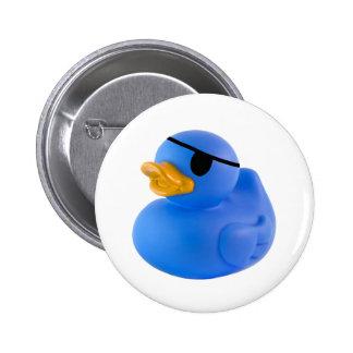 Botón de goma del pato del pirata azul