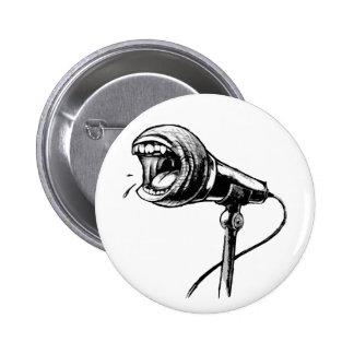 Botón de griterío del micrófono pin redondo de 2 pulgadas