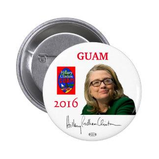 Botón de Guam Pinback del funcionario de HILLARY Pin Redondo De 2 Pulgadas