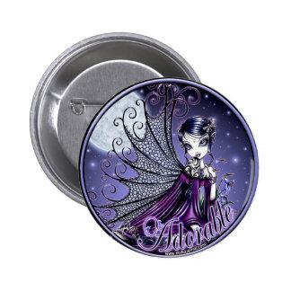 Botón de hadas adorable de la luna azul de Maggy Pin Redondo De 2 Pulgadas
