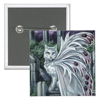 Botón de hadas blanco de Pinback del gato de la Pin Cuadrado