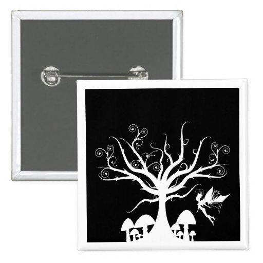 Botón de hadas fantasmagórico blanco y negro pins