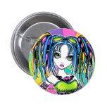 Botón de hadas gótico cibernético del arco iris de pin