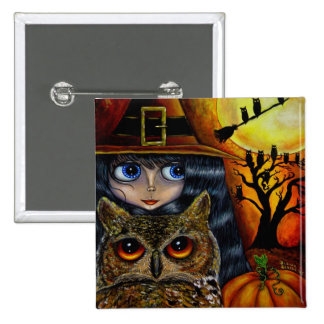 Botón de Halloween de la bruja del búho Pin Cuadrado