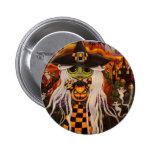 Botón de Halloween de la bruja del tablero de dama Pins