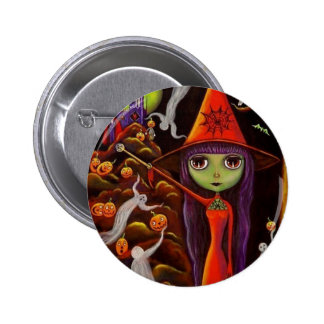 Botón de Halloween de la bruja del Web de araña Pin Redondo De 2 Pulgadas