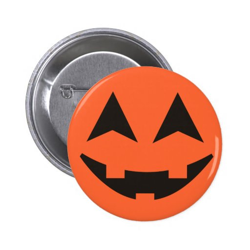 Botón de Halloween de la cara de la calabaza de la