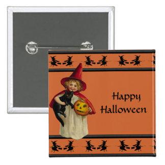 Botón de Halloween de la niña del vintage