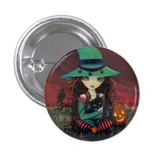 Botón de Halloween de la pequeña bruja y del gato  Pin Redondo De 1 Pulgada