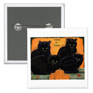 Botón de Halloween de los gatos negros