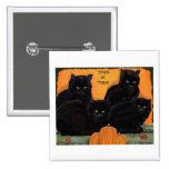Botón de Halloween de los gatos negros Pin