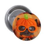 Botón de Halloween del gatito de la calabaza
