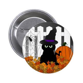 Botón de Halloween del gatito de Witchy