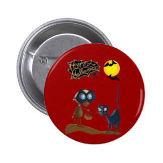 Botón de Halloween del vampiro y del gato Pin