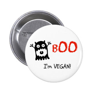 Botón de Halloween del vegano Pin Redondo De 2 Pulgadas