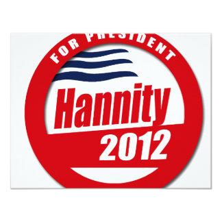 """Botón de Hannity 2012 Invitación 4.25"""" X 5.5"""""""