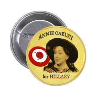 Botón de Hillary Annie Oakley Pin Redondo De 2 Pulgadas