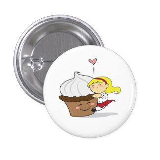 Botón de Hugger Cutie de la magdalena Pin Redondo De 1 Pulgada