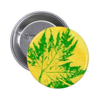 Botón de impresiones de la naturaleza de la hoja pin redondo de 2 pulgadas