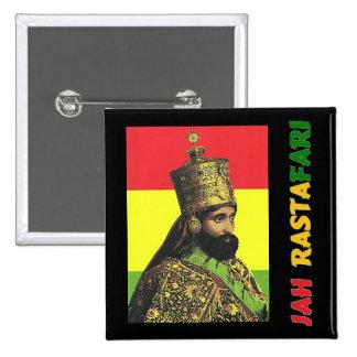 Botón de Jah Rastafari Pin Cuadrado