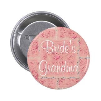 Botón de la abuela de la novia rosada adornada del pin redondo de 2 pulgadas