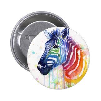 Botón de la acuarela del arco iris de la cebra pin redondo de 2 pulgadas