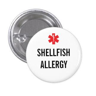 Botón de la alarma de la alergia de los crustáceos pin redondo de 1 pulgada
