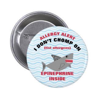 Botón de la alarma de la alergia del tiburón