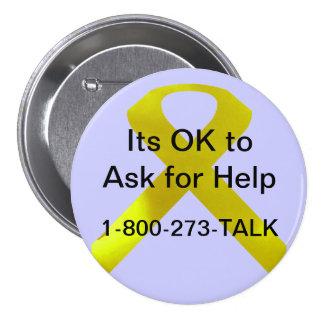 Botón de la ayuda de la conciencia del suicidio pin redondo de 3 pulgadas