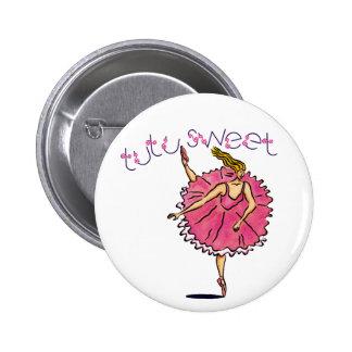Botón de la bailarina del tutú de Tulle Pin Redondo De 2 Pulgadas