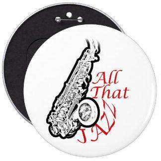 Botón de la banda del músico de jazz del saxofón pin redondo de 6 pulgadas