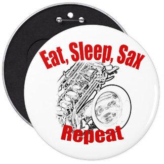 Botón de la banda del músico del saxofón pin redondo de 6 pulgadas