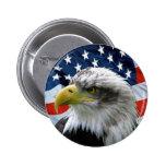 Botón de la bandera americana de Eagle calvo Pin Redondo De 2 Pulgadas