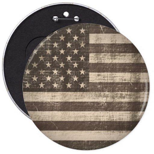 Botón de la bandera americana del vintage pin redondo de 6 pulgadas