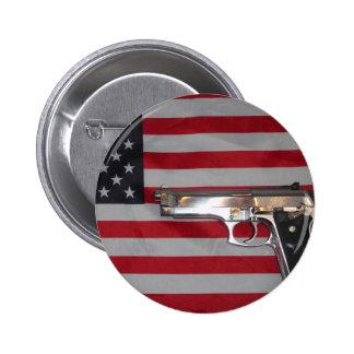 Botón de la bandera americana y del arma pin redondo de 2 pulgadas