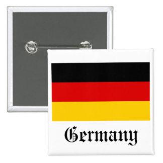 Botón de la bandera de Alemania Pin Cuadrado