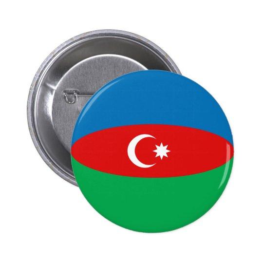 Botón de la bandera de Azerbaijan Fisheye Pin Redondo De 2 Pulgadas