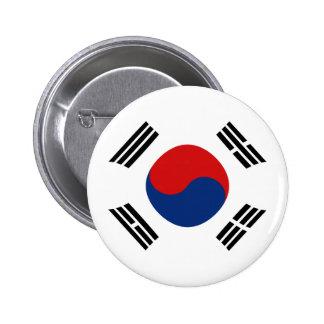 Botón de la bandera de Fisheye de la Corea del Sur Pin Redondo De 2 Pulgadas