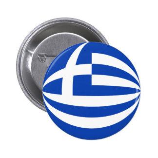 Botón de la bandera de Grecia Fisheye Pin Redondo De 2 Pulgadas