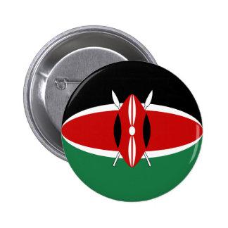 Botón de la bandera de Kenia Fisheye Pin Redondo De 2 Pulgadas